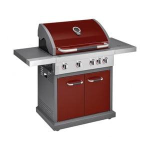 Červený plynový gril so 4 samostatne ovládateľnými horákmi, teplomerom a bočným ohrievačom Jamie Oliver Pro