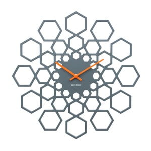 Tmavosivé nástenné hodiny Karlsson Sunshine Hexagon