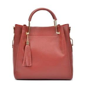 Červená kožená kabelka Carla Ferreri Kullina