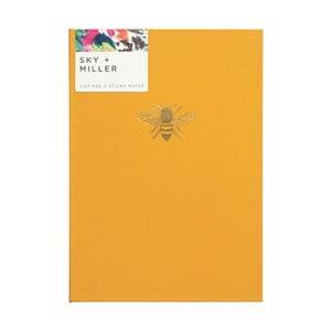 Žltý poznámkový blok so sadou lepiacich papierikov Portico Designs Bee, 60 strán