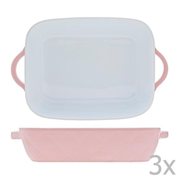 Sada 3 pekáčikov Diamond 30x19 cm, v rôznych farbách - ružová, modrá a béžová