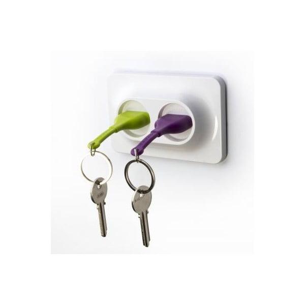 Nástenný držiak s kľúčenkami QUALY Double Unplug, zelená-fialová