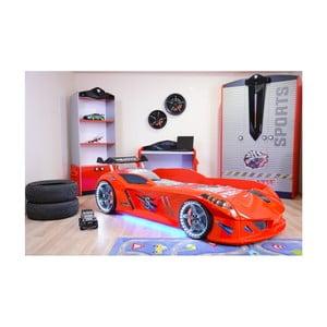 Červená detská posteľ v tvare auta s LED svetlami Speedy, 90 × 190 cm