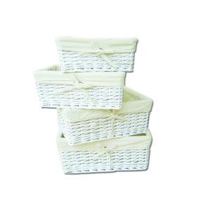 Set 4 košíkov Wicker White