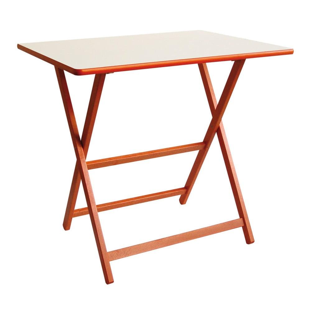 Oranžový drevený skladací stôl Valdomo Papillon, 60 x 80 cm