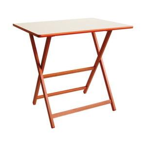 Oranžový drevený skladací stôl Valdomo Papillon, 60×80 cm