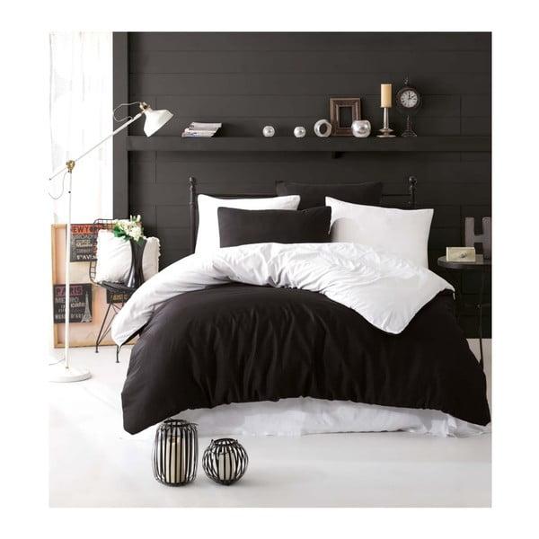Čierno-biele obliečky s plachtou na dvojlôžko Permento Baka, 200×220 cm
