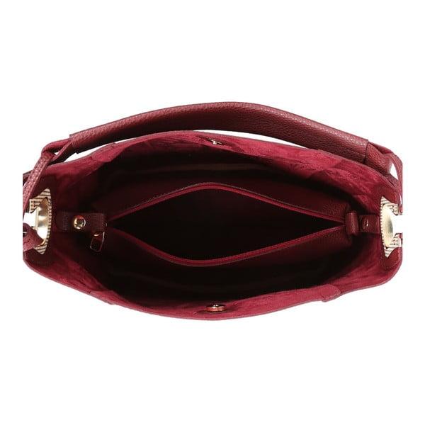 Tmavočervená kabelka z eko kože Beverly Hills Polo Club Rita