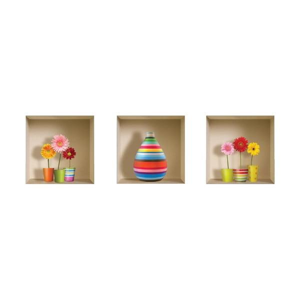 3D samolepky na stenu Nisha Flower Kids, 3 ks