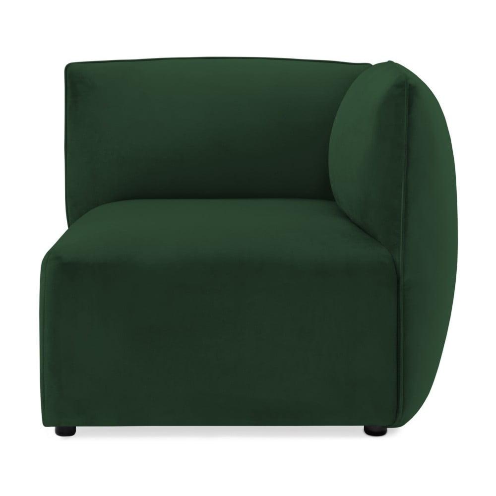 Smaragdovozelený pravý rohový modul pohovky Vivonita Velvet Cube