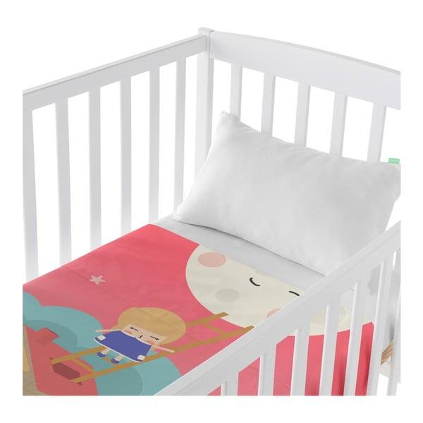 Set plachty a obliečky na vankúš z čistej bavlny Happynois Moon Dream, 120×180 cm