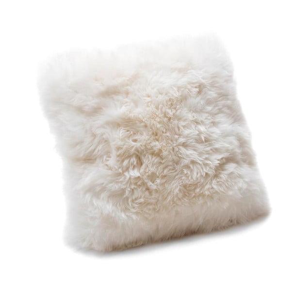 Biely vankúš z ovčej kožušiny Royal Dream Sheepskin, 45×45cm