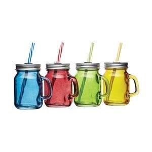 Sada 4 farebných pohárov s viečkom a slamkou Kitchen Craft Bar