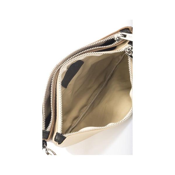 Kožená kabelka Krole Kody s dvoma vreckami, béžová