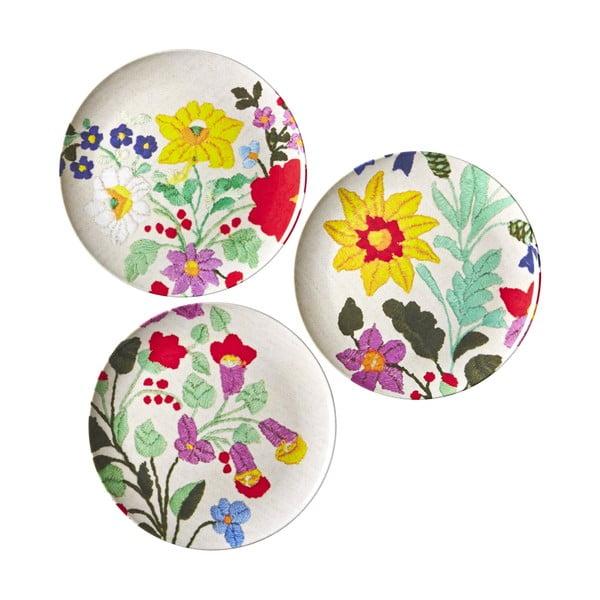 Sada 3 tanierov Embroidered Flower