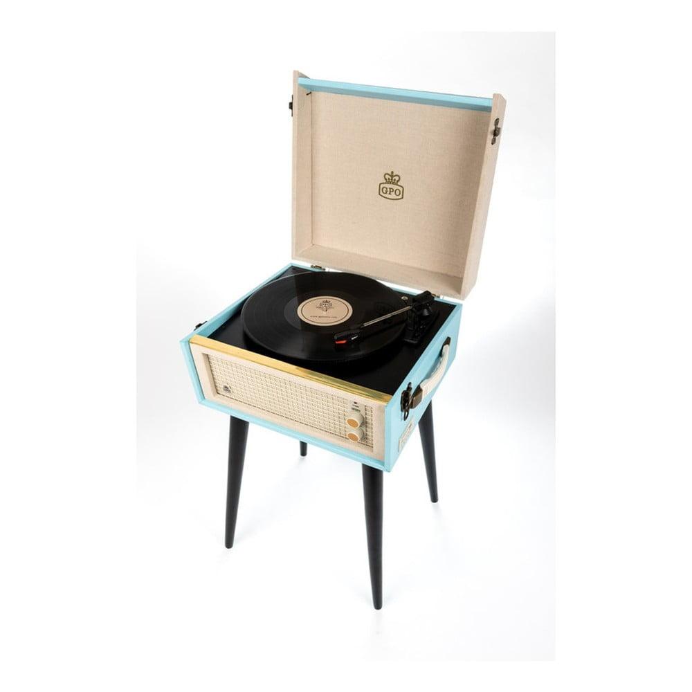 Svetlomodrý gramofón s rádiom na nohách GPO Bermuda Blue