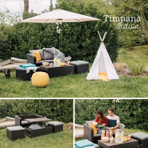 Set záhradného nábytku z umelého ratanu Timpana Gidion