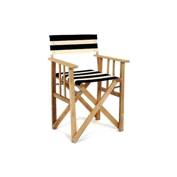 Skladacia stolička Director, pruhovaná, čiernobiela