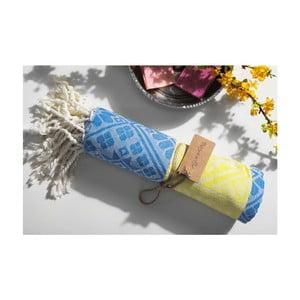 Hammam osuška Aztec, žltá/modrá