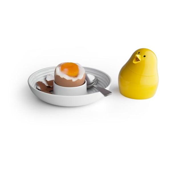 Zelená soľnička s bielym tanierikom na vajíčko Qualy Jib-Jib Shaker