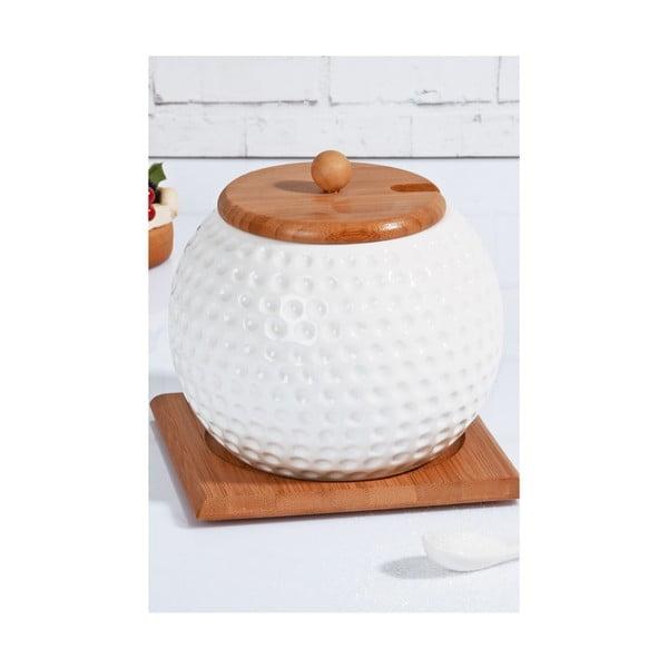 Porcelánová cukornička a lyžička s bambusovým viečkom a tanierikom Kosova