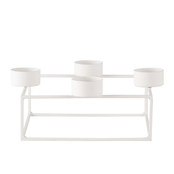 Biely stojan na 4 čajové sviečky KJ Collection Melo, dĺžka 18cm