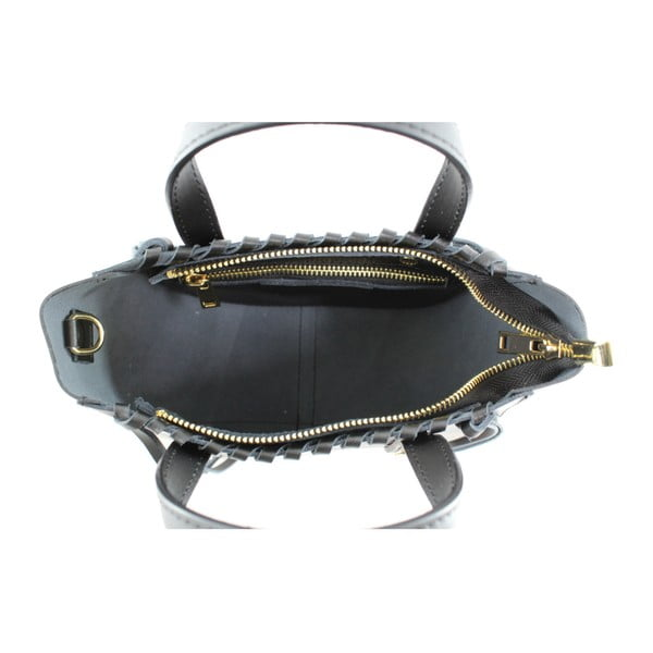 Čierna kožená kabelka Chicca Borse Anna