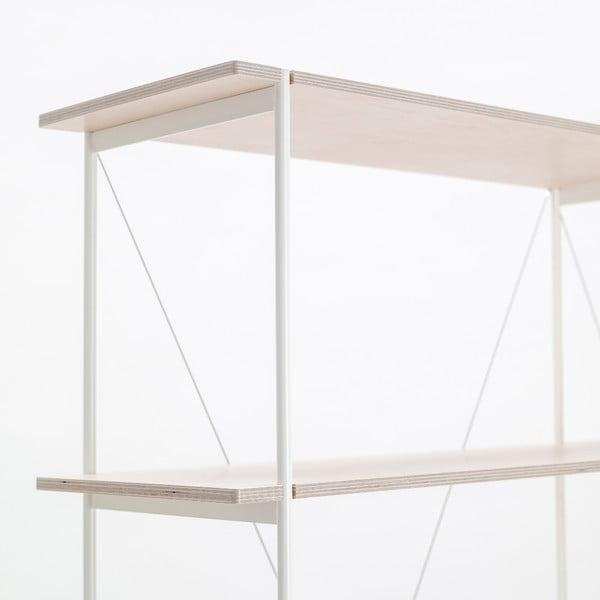 Knižnica One - biela, 149x144 cm