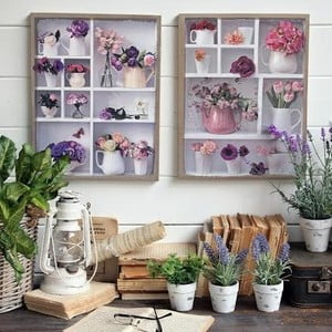 Nástenná dekorácia Flowers, 2 ks