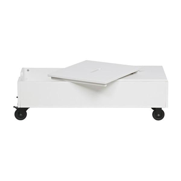 Biely pojazdný úložný box z borovicového dreva De Eekhoorn Elon