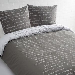 Sivé bavlnené obliečky na dvojposteľ Ekkelboom Tekst, 240 x 200 cm