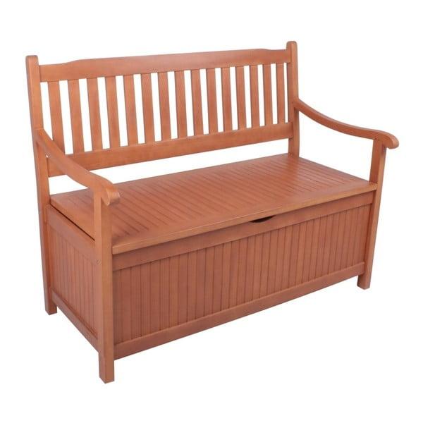 Záhradná lavica s úložným priestorom z eukalyptového dreva ADDU Houston, dĺžka 107 cm