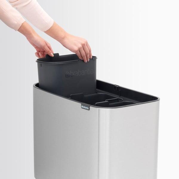 Odpadkový kôš v striebornej farbe s 3 vnútornými priehradkami Brabantia Touch, 3 x 11 l