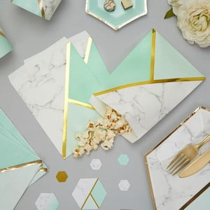 Sada 25 papierových vrecúšok Neviti Mint Colour Block Marble