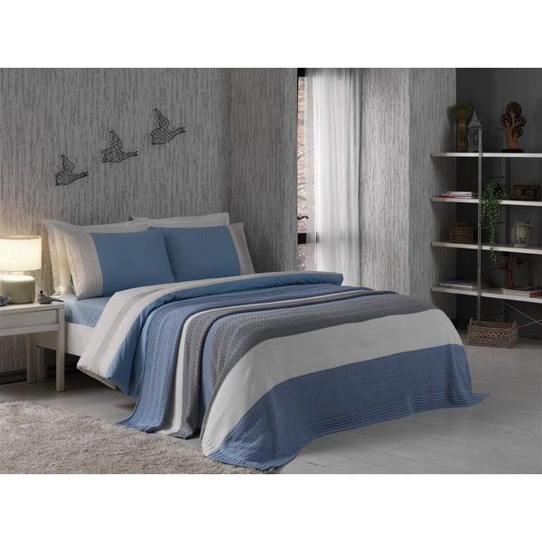 Obliečky s plachtou a posteľnou prirkývkou Grey and Blue, 160x220 cm