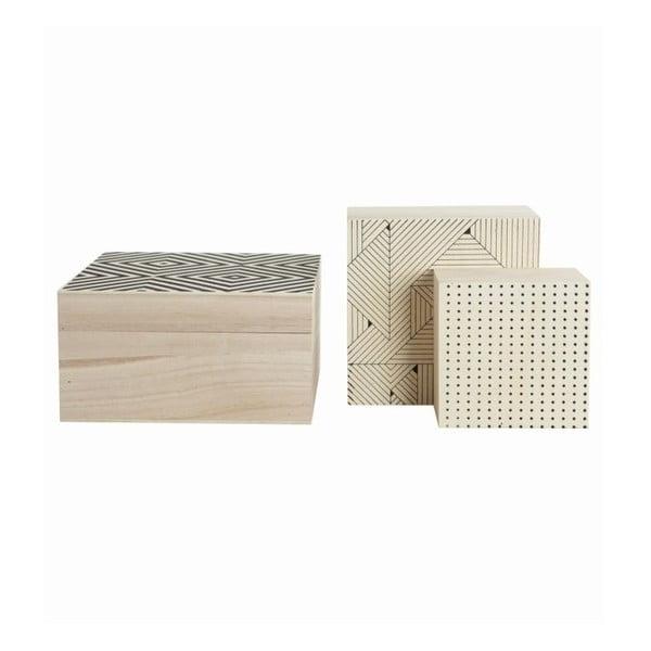 Set drevených boxov Geometry, 3 ks