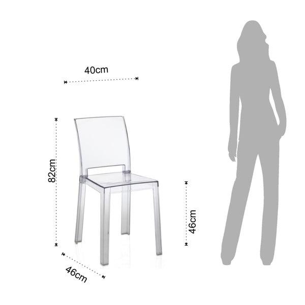 Sada 2 transparentných plastových jedálenských stoličiek vhodných do e×teriéru Tomasucci Mia