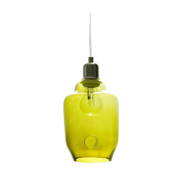 Sklenené svietidlo 20 cm, olivové