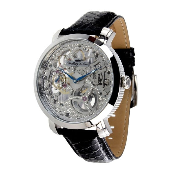 Čierno-strieborné hodinky Lindberg&Sons