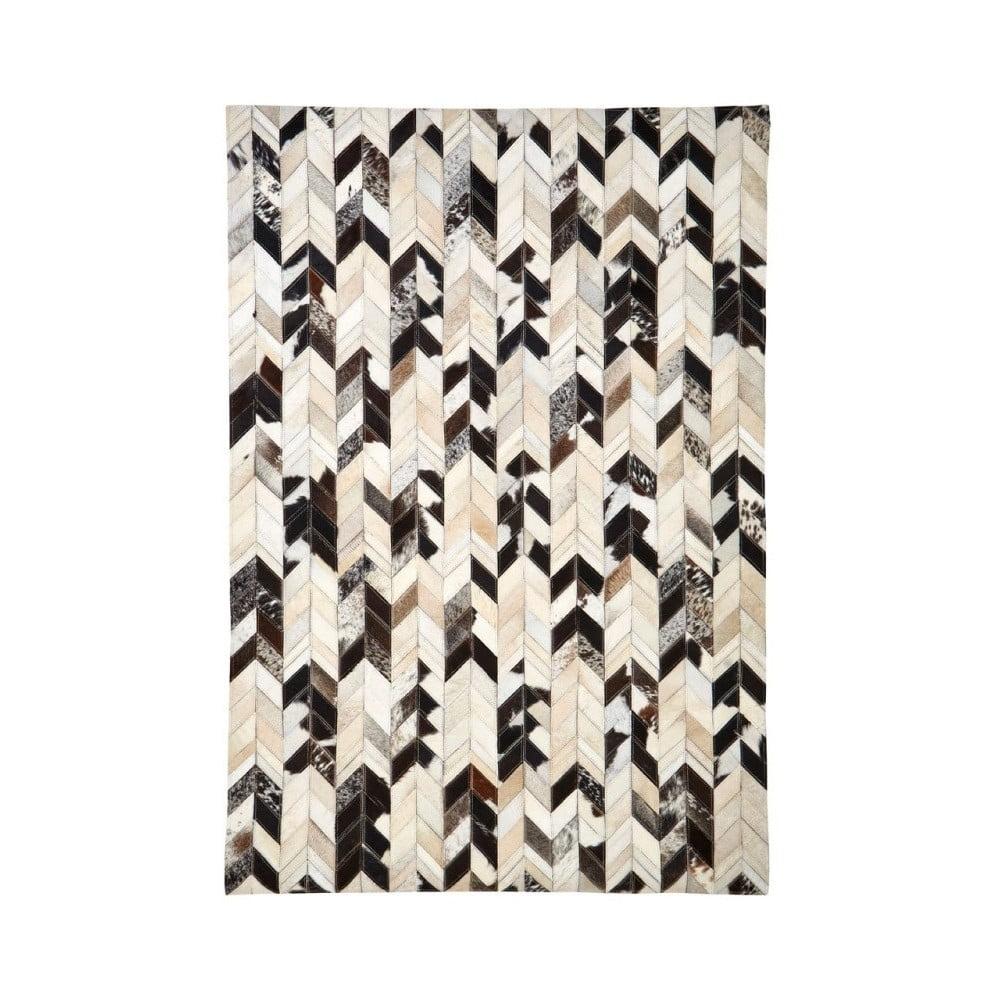 Koberec s detailmi z kože a vlny s hnedými detailmi Premier Housewares Safira, 170 × 120 cm