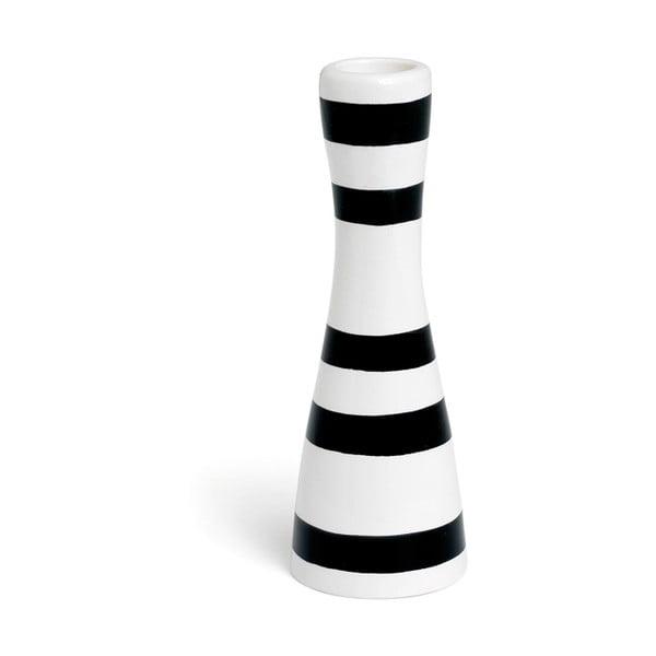 Čierno-biely kameninový svietnik Kähler Design Omaggio, výška 16 cm