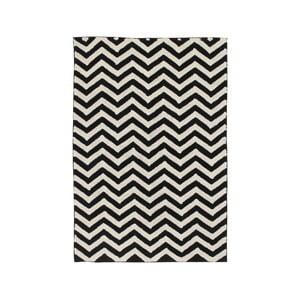Černo-biely bavlnený ručne vyrobený koberec Lorena Canals Zig Zag, 140 x 200 cm