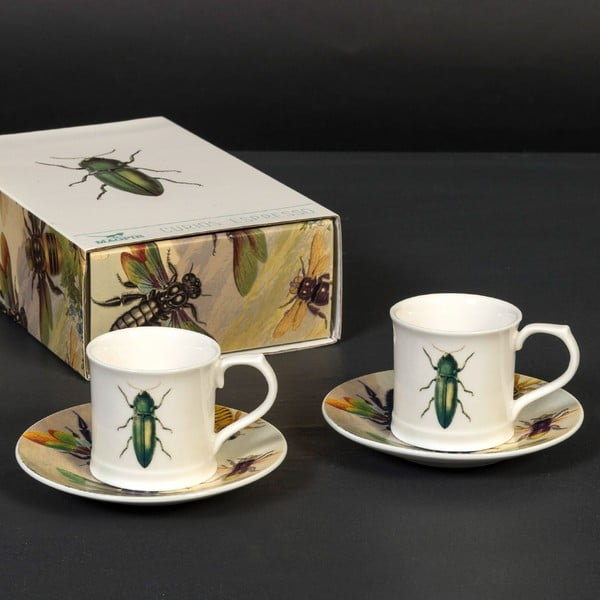 Sada 2 šálok s tanierikmi Curious Green Beetle