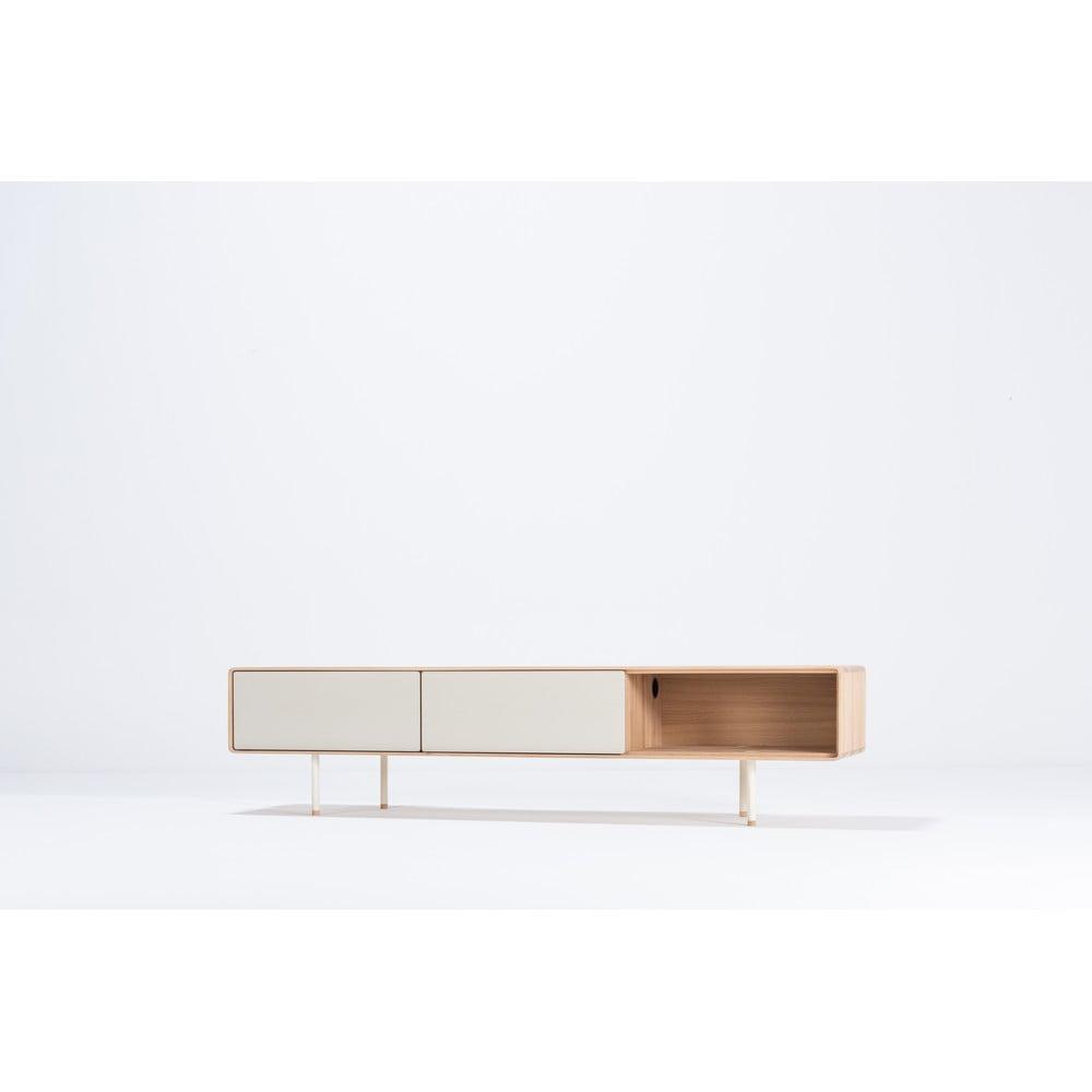 Biely TV stolík z dubového dreva Gazzda Mushroom, šírka 200 cm