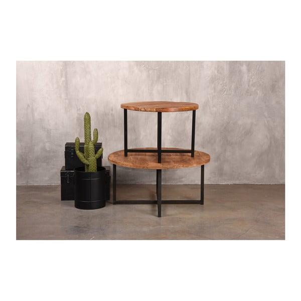 Čierny konferenčný stolík s doskou z mangového dreva LABEL51 Dex,⌀60 cm