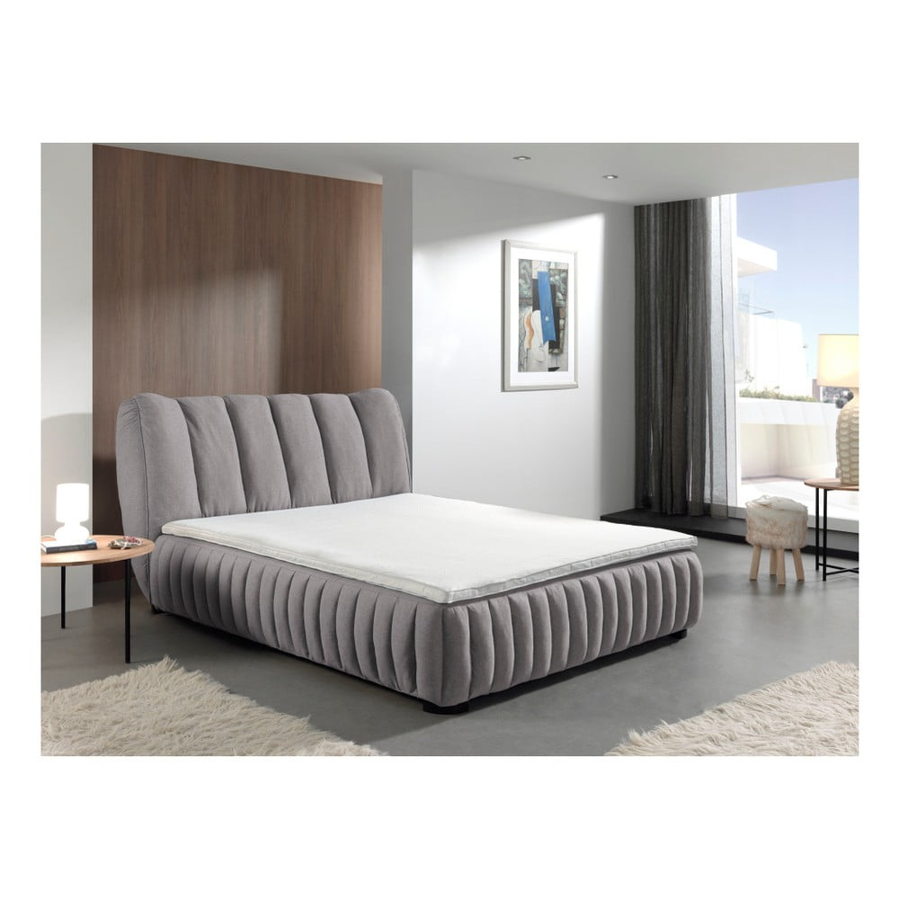 Sivá dvojlôžková posteľ Sinkro Michelle, 160 × 200 cm