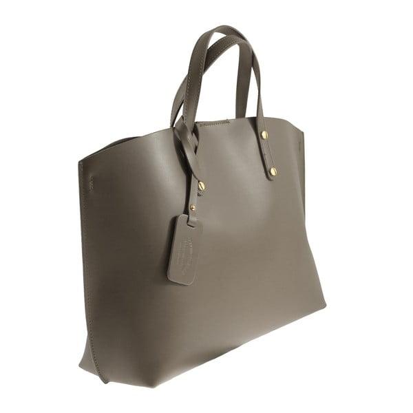 Taupe kožená kabelka Chicca Borse City