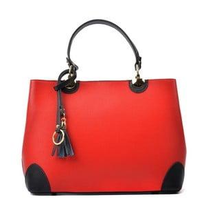 Červená kožená kabelka s Čiernymi detaily Isabella Rhea Mismo