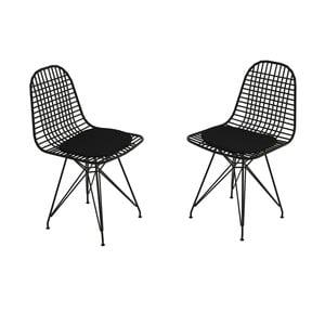 Sada 2 čiernych kovových stoličiek Muzzo Kafes
