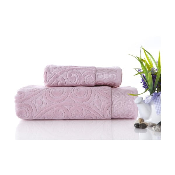 Sada uteráka a osušky Hanzade Pink, 70x140 a 50x90 cm